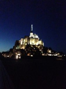 The Abbey of Mont St. Michele at night