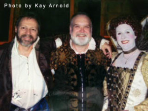 Chip Arnold as William Shakespeare, Buddy Raper as Thomas Pope, and Rona Carter as Queen Elizabeth